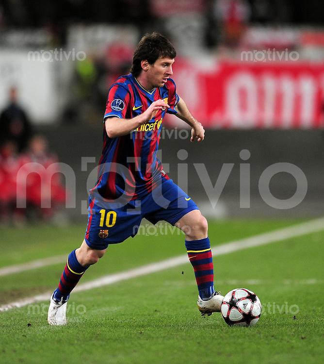 FUSSBALL  International  Champions   League  Hinspiel   SAISON 2009/2010    VfB Stuttgart -  FC Barcelona      23.02.2010 Lionel Messi (Barca)
