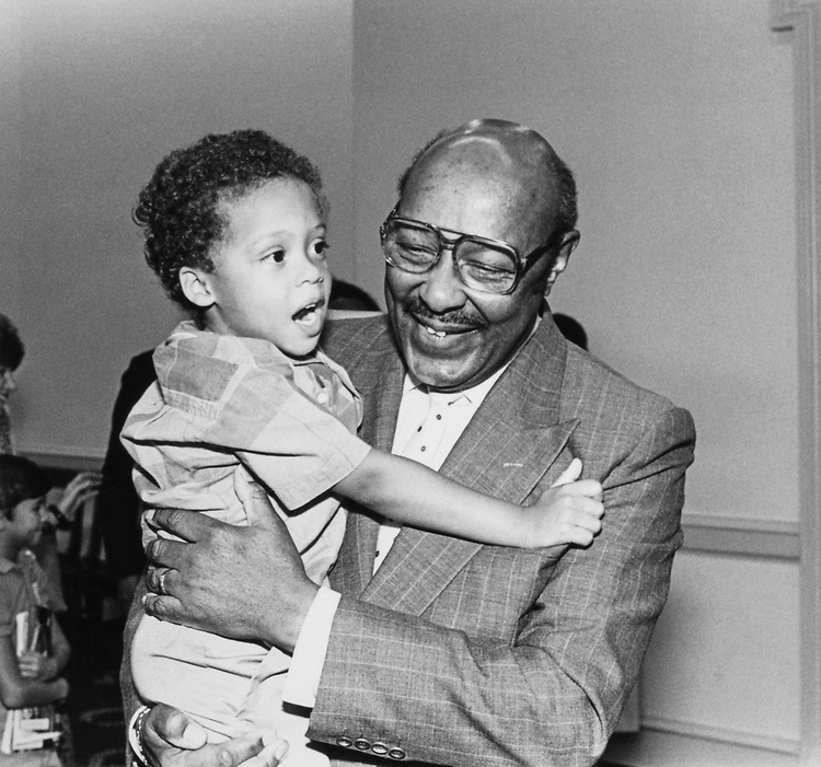 Rep. Louis Stokes, D-Ohio, with Grandson Eric Hammond (age 4) on August 14, 1990. (Photo by CQ Roll Call)