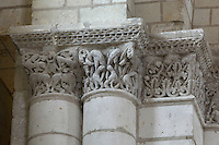 Fantastical creatures and decorative foliage carved capitals from nave of Romanesque abbey church, Fontevraud Abbey, Fontevraud-l'Abbaye, Loire Valley, Maine-et-Loire, France. The abbey itself was founded in 1100 by Robert of Arbrissel, who created the Order of Fontevraud. It was a double monastery for monks and nuns, run by an abbess. The order was dissolved during the French Revolution and the building subsequently used as a prison. Picture by Manuel Cohen