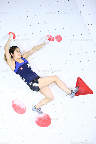 Miho Nonaka (JPN),<br /> APRIL 23, 2016 - Sports Climbing : <br /> IFSC Climbing World Cup - Bouldering Kazo 2016 <br /> Women's Qualification <br /> at Kazo Civic Gymnasium, Saitama, Japan. <br /> (Photo by Shingo Ito/AFLO SPORT)