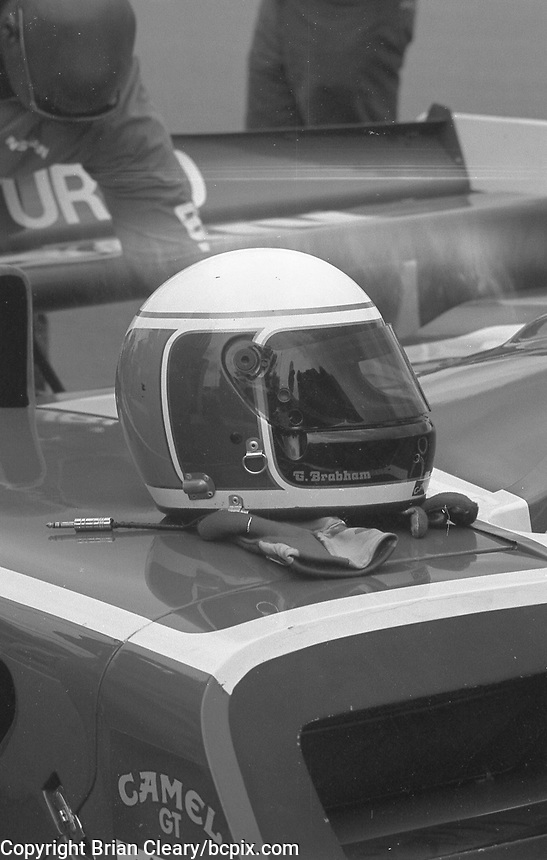 A driver's helmet rests on a race car at the IMSA GTP/Lights race at the Florida State Fairgrounds in Tampa, FL, October 1, 1989. (Photo by Brian Cleary/www.bcpix.com)