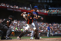 SAN FRANCISCO, CA - JULY 20:  Buster Posey #8 of the San Francisco Giants throws to second base against the New York Mets during the game at Oracle Park on Saturday, July 20, 2019 in San Francisco, California. (Photo by Brad Mangin)
