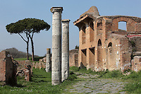 Facade of Caseggiato degli Aurighi (Building of the Charioteers), 2nd century, seen from the East, on the Cardo degli Aurighi, Ostia Antica, Italy. Picture by Manuel Cohen