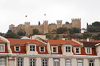 Rooftops and Castelo de Sao Jorge fortress. Lisbon, Portugal