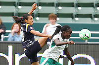Marta #10 of the Los Angeles Sol battles Tina Ellertson #8 of St. Louis Athletica for control of a loose ball during their WPS game at Home Depot Center on May 30, 2009 in Carson, California. LA Sol defeated  St. Louis Athletic 2-0.