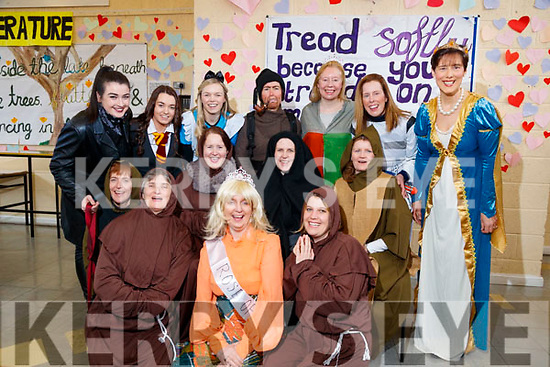 Staff dressed up for Love Literature week at Presentation Secondary School, Tralee, on Wednesday morning last. Front: Maria O Neill,Joanna O Flynn and Maria Cronin. Middle: Lillie O Sullivan, Mary Twomey,Moira O Connor and Brid Prenderville. Back left - Rachel O Neill, Jennifer Conway, Laura Boyle, Clem O Keeffe, Margaret Barry, Helena Madigan and Norma Foley.