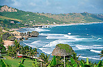 Beautiful Bathsheba Beach and mushroom rock on the east coast of Barbados Island in the Caribbean.