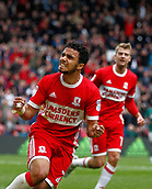 30th September 2017, Riverside Stadium, Middlesbrough, England; EFL Championship football, Middlesbrough versus Brentford; Fabio of Middlesbrough celebrates making it 2-2 in the 76th minute with Patrick Bamford close by
