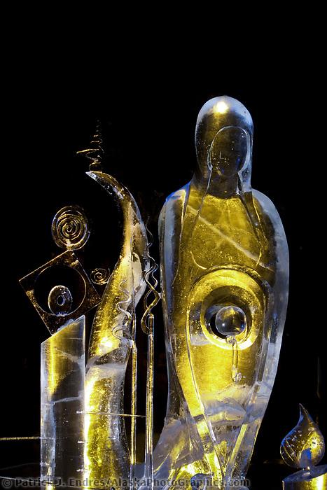 "Single block, realistic sculpture titled ""Tranquility"", 2009 World Ice Art Championships in Fairbanks, Alaska. Sculpted by Kevin McDonald, Kla Kitburi."
