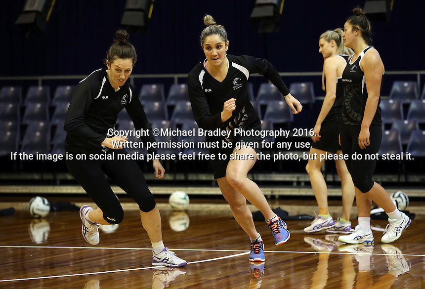 09.10.2016 Silver Ferns Te Paea Selby-Rickit and Bailey Mes in action during training at the Silver Dome in Launceston in Australia. Mandatory Photo Credit ©Michael Bradley.
