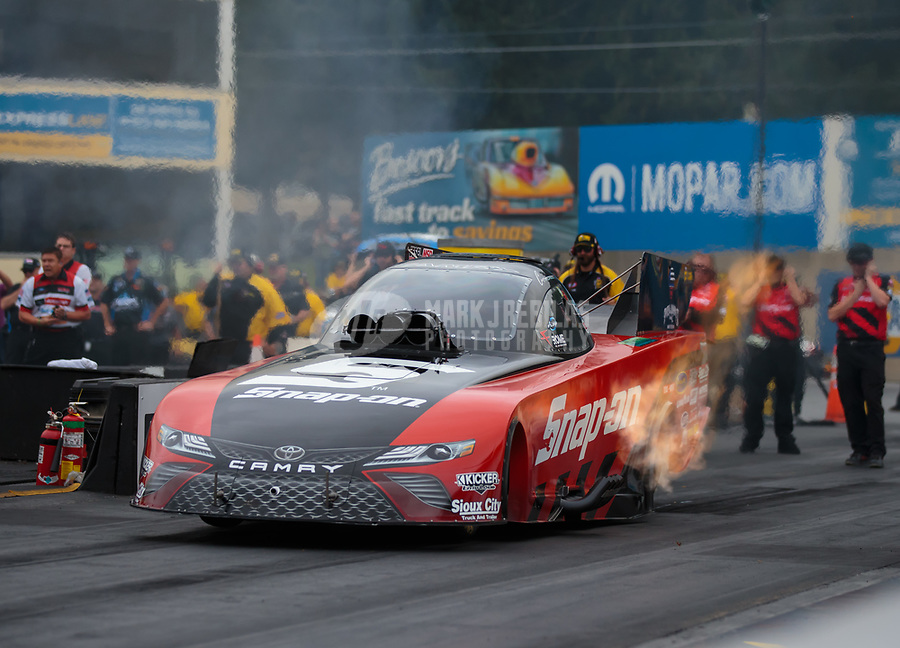 Sep 14, 2018; Mohnton, PA, USA; NHRA funny car driver Cruz Pedregon during qualifying for the Dodge Nationals at Maple Grove Raceway. Mandatory Credit: Mark J. Rebilas-USA TODAY Sports