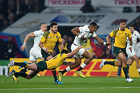 Anthony Watson of England takes on the Australia defence. Rugby World Cup Pool A match between England and Australia on October 3, 2015 at Twickenham Stadium in London, England. Photo by: Patrick Khachfe / Onside Images