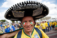Mexico and Brazil fan with a big hat