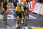 Race leader Yellow Jersey Geraint Thomas (WAL) Team Sky crosses the finish line of Stage 2 of the 104th edition of the Tour de France 2017, running 203.5km from Dusseldorf, Germany to Liege, Belgium. 2nd July 2017.<br /> Picture: Eoin Clarke | Cyclefile<br /> <br /> <br /> All photos usage must carry mandatory copyright credit (&copy; Cyclefile | Eoin Clarke)