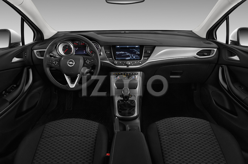 Stock photo of straight dashboard view of 2017 Opel Astra Sports Tourer Edition 5 Door Wagon