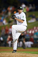 Kane County Cougars pitcher Ryan Burr (33) delivers a pitch during a game against the Great Lakes Loons on August 13, 2015 at Fifth Third Bank Ballpark in Geneva, Illinois.  Great Lakes defeated Kane County 7-3.  (Mike Janes/Four Seam Images)