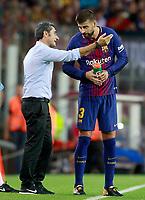 FC Barcelona's coach Ernesto Valverde with Gerard Pique during Joan Gamper Trophy. August 7,2017. (ALTERPHOTOS/Acero) /NortePhoto.com