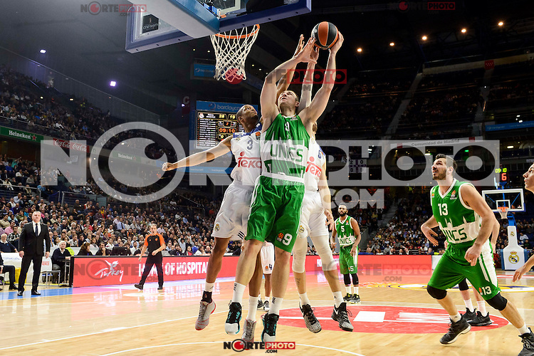 Real Madrid's player Anthony Randolph and Andres Nocioni and Unics Kazan's player Artsiom Parakhouski and Marko Basic during match of Turkish Airlines Euroleague at Barclaycard Center in Madrid. November 24, Spain. 2016. (ALTERPHOTOS/BorjaB.Hojas) //NORTEPHOTO
