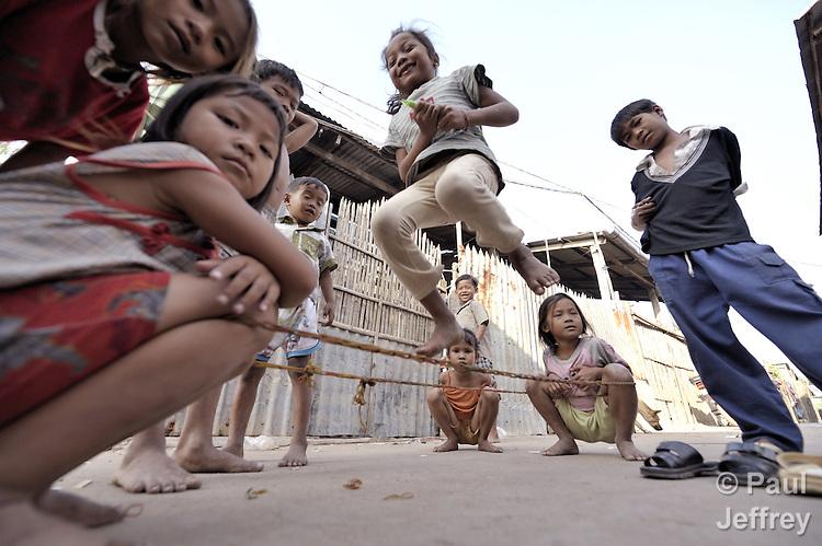 Children at play in the Chamroen neighborhood of Phnom Penh, Cambodia.