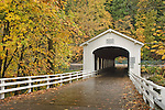 Goodpasture Covered Bridge o the McKenzie River; Lane County, Oregon.