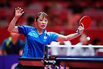 Miyu Maeda (JPN), <br /> AUGUST 27, 2018 - Table Tennis : <br /> Women's Team Quarter-final <br /> between Japan 0-3 China <br /> at JIExpo Kemayoran Hall B <br /> during the 2018 Jakarta Palembang Asian Games <br /> in Jakarta, Indonesia. <br /> (Photo by Naoki Morita/AFLO SPORT)