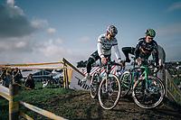 CX World Champion Wout Van Aert (BEL/Cr&eacute;lan-Charles) &amp; teammate Tim Merlier (BEL/Crelan-Charles) at recon<br /> <br /> Super Prestige Ruddervoorde / Belgium 2017