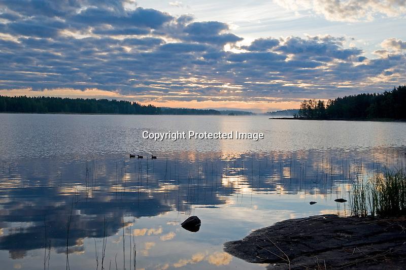 Sunrise on Pristine Näsijärvi Lake during Beautiful Finland Summer
