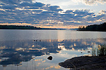 Sunrise on Pristine Näsijärvi Lake during Beautiful Finland Summer