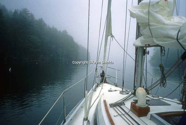 Sailing in The Basin in Phippsburg, Maine, USA