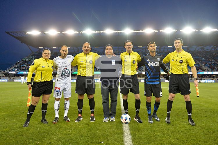 San Jose, CA - Saturday March 24, 2018: Referees, Landon Donovan, Chris Wondolowski during an international friendly between the San Jose Earthquakes and Club Leon FC at Avaya Stadium.