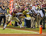 Florida State defensive back Jalen Ramsey, left, stops Notre Dame wide receiver C.J. Prosise short of the goal at the end of an NCAA college football game in Tallahassee, Fla., Saturday, Oct. 18, 2014.  Florida State defeated Notre Dame 31-27.  AP Photo/Mark Wallheiser)