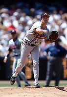Greg Maddux of the Atlanta Braves at Dodger Stadium in Los Angeles,California during the 1996 season. (Larry Goren/Four Seam Images)