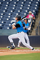 Tampa Tarpons center fielder Ben Ruta (6) hits a lead off home run during the first game of a doubleheader against the Lakeland Flying Tigers on May 31, 2018 at George M. Steinbrenner Field in Tampa, Florida.  Tampa defeated Lakeland 3-0.  (Mike Janes/Four Seam Images)