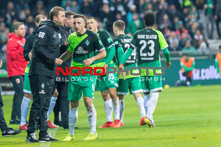 10.02.2019, Weser Stadion, Bremen, GER, 1.FBL, Werder Bremen vs FC Augsburg, <br /> <br /> DFL REGULATIONS PROHIBIT ANY USE OF PHOTOGRAPHS AS IMAGE SEQUENCES AND/OR QUASI-VIDEO.<br /> <br />  im Bild<br /> <br /> Florian Kohfeldt (Trainer SV Werder Bremen)<br /> Kevin Möhwald / Moehwald (Werder Bremen #06)<br /> <br /> Foto © nordphoto / Kokenge