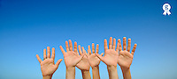 People's hands in air, palms outstretched, (Licence this image exclusively with Getty: http://www.gettyimages.com/detail/103301319 )