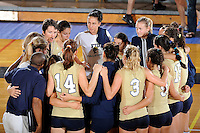 12 October 2008:  FIU's volleyball team gathers after the FIU victory 3-0 (25-18, 25-17, 25-20) over North Texas at Panther Arena in Miami, Florida.