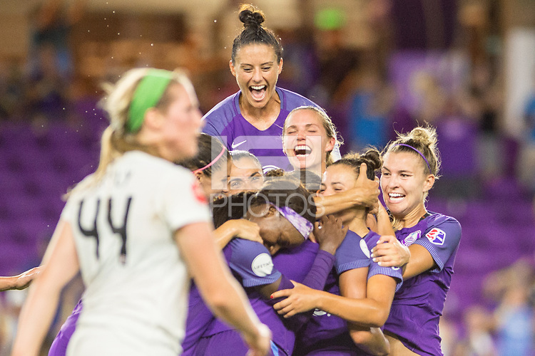 Orlando, FL - Saturday July 15, 2017: Ali Krieger and Orlando Pride celebrate a goal during a regular season National Women's Soccer League (NWSL) match between the Orlando Pride and FC Kansas City at Orlando City Stadium.