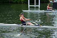 "Henley on Thames, United Kingdom, 23rd June 2018, Saturday,   ""Henley Women's Regatta"",  view, Start, ""heat of the Junior Women's Single Sculls"","" E. LAMBLEN, Americian  School London"". Henley Reach, River Thames, Thames Valley, England, © Peter SPURRIER/Alamy Live News"