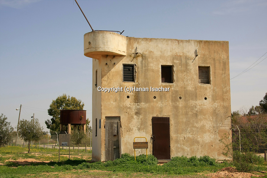 Israel, Besor region in the Negev. The old security house in Kibbutz Tzeelim built in 1947