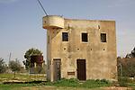 Israel, Besor region in the Negev. The old security house in Kibbutz Tzeelim built in 1947