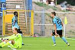 05.08.2019, Carl-Benz-Stadion, Mannheim, GER, 3. Liga, SV Waldhof Mannheim vs. TSV 1860 Muenchen, <br /> <br /> DFL REGULATIONS PROHIBIT ANY USE OF PHOTOGRAPHS AS IMAGE SEQUENCES AND/OR QUASI-VIDEO.<br /> <br /> im Bild: Michael Schultz (SV Waldhof Mannheim #23) jubelt ueber das Tor zum 1:0 mit Benedict dos Santos (SV Waldhof Mannheim #21), am Boden Hendrik Bonmann (TSV 1860 Muenchen #39)<br /> <br /> Foto © nordphoto / Fabisch