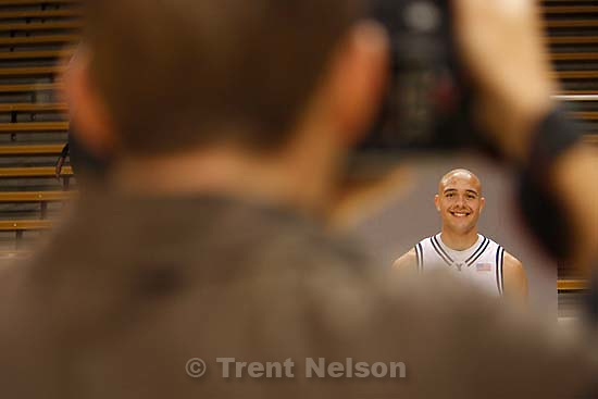 Provo - Jonathan Tavernari is photographed at BYU basketball's media day, Thursday at the Marriott Center.