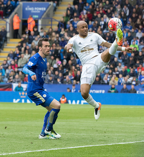 24.04.2016. King Power Stadium, Leicester, England. Barclays Premier League. Leicester versus Swansea.  Swansea City striker Andre Ayew with a high kick to keep the ball in play