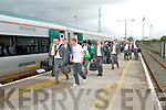 The Kerry Senior Football team arrive in Tralee on Monday evening Train Station after being defeated by Dublin in the All Ireland Final.