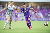 Orlando, FL - Sunday May 14, 2017: Abby Dahlkemper, Camila during a regular season National Women's Soccer League (NWSL) match between the Orlando Pride and the North Carolina Courage at Orlando City Stadium.