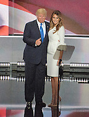Donald and Melania Trump following her remarks at the 2016 Republican National Convention at the Quicken Loans Arena in Cleveland, Ohio on Monday, July 18, 2016.<br /> Credit: Ron Sachs / CNP<br /> (RESTRICTION: NO New York or New Jersey Newspapers or newspapers within a 75 mile radius of New York City)