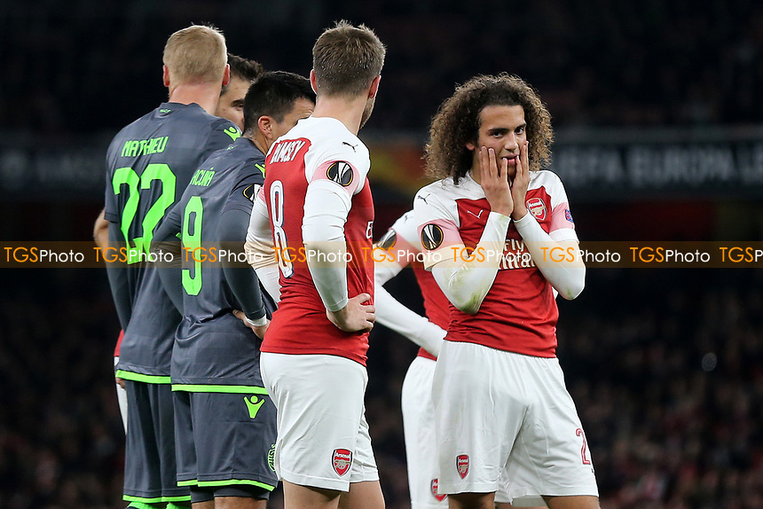 Matteo Guendouzi's reaction after seeing the injury to Arsenal's Danny Welbeck during Arsenal vs Sporting Lisbon, UEFA Europa League Football at the Emirates Stadium on 8th November 2018