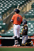 Baltimore Orioles right fielder Zach Jarrett (81) at bat in front of catcher Jason Delay (64) during a Florida Instructional League game against the Pittsburgh Pirates on September 22, 2018 at Ed Smith Stadium in Sarasota, Florida.  (Mike Janes/Four Seam Images)