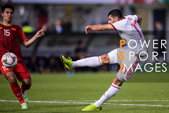 Mehdi Taremi of Iran (R) in action during the AFC Asian Cup UAE 2019 Group D match between Vietnam (VIE) and I.R. Iran (IRN) at Al Nahyan Stadium on 12 January 2019 in Abu Dhabi, United Arab Emirates. Photo by Marcio Rodrigo Machado / Power Sport Images