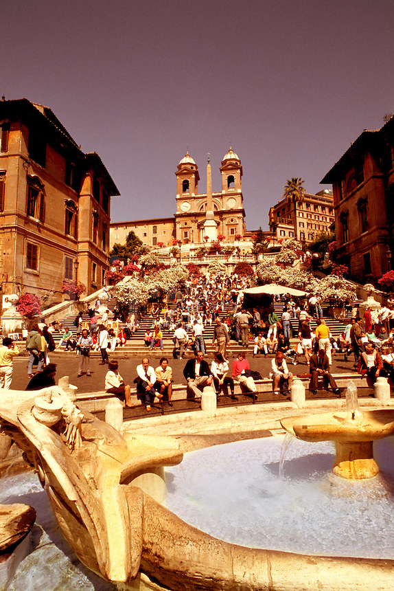 Famous fountain and meeting place at Spanish Steps in Rome Itally
